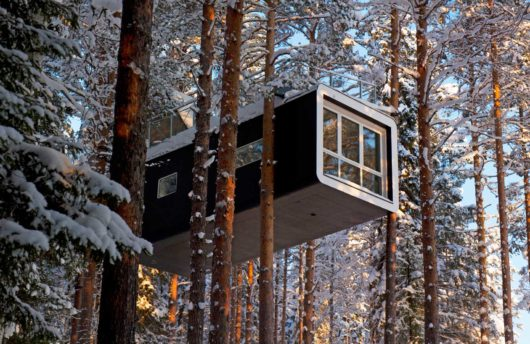 snow room in trees at tree hotel sweden