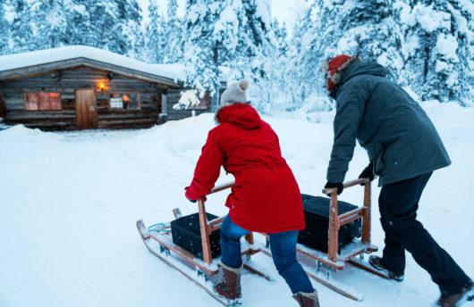 Kakslauttanen log cabin sledges