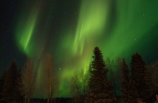Northern Lights over lodge