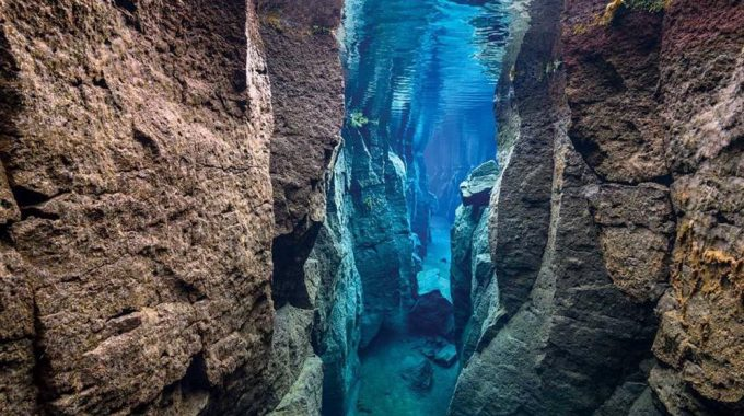 scuba diving at Silfra in Iceland