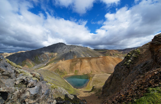 iceland mountain range in summer