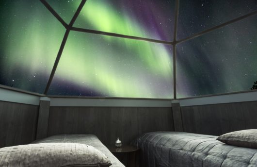 Glass igloo and Northern Lights