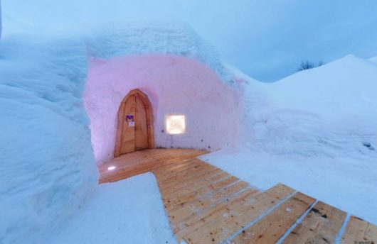 snow igloo hotel entrance