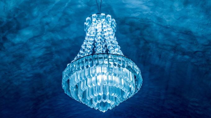 Ice chandelier at Ice Hotel 365