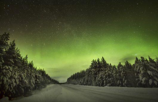 northern lights near aurora bubbles