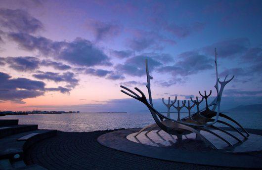 Reykjavik boat sculpture statue
