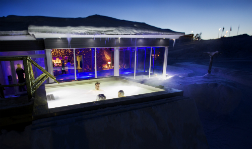 outdoor hot tub in the snow