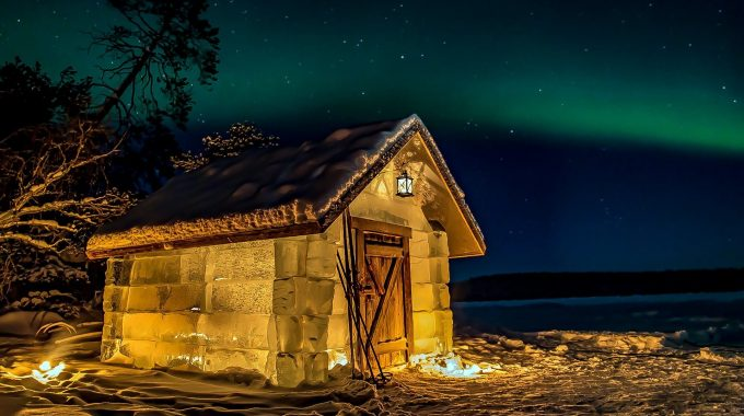 Ice Cabin and Northern Lights