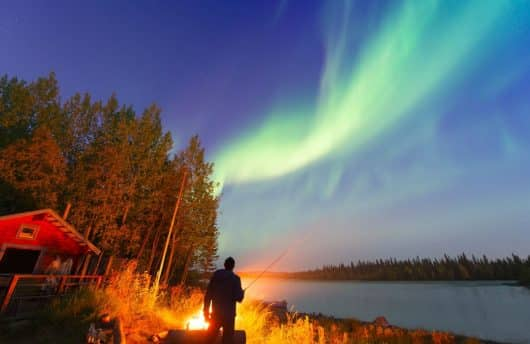 Northern lights in Autumn at Ice Hotel Sweden